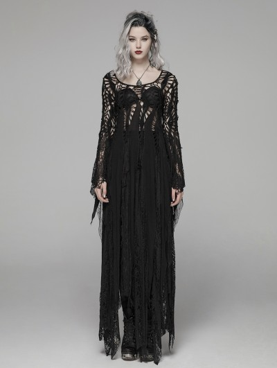 Punk Rave Black Gothic Punk Long Asymmetric Lace Dress