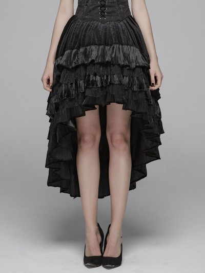 Punk Rave Black Gothic Velvet High-Low Skirt for Women
