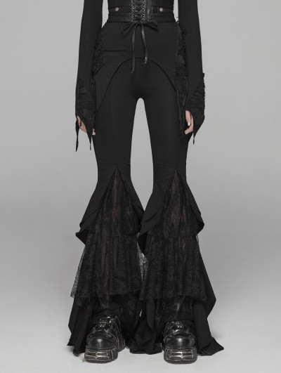 Punk Rave Black Gothic Lace Big Pendulum Trousers for Women