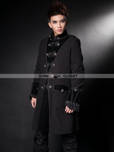 Pentagramme Black Winter Gothic Coat for Men