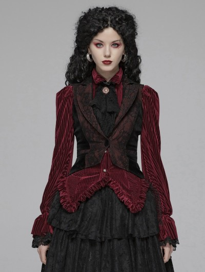 Punk Rave Red and Black Vintage Gothic Tuxedo Vest for Women