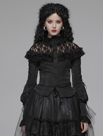 Punk Rave Black Gothic Lolita Lace Long Sleeve Blouse for Women