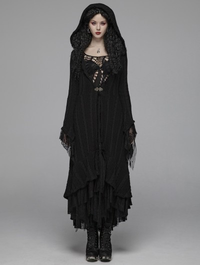 Punk Rave Black Gothic Woolen Long Hooded Cardigan for Women