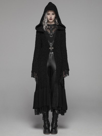 Punk Rave Black Gothic Thick Woolen Long Hooded Cardigan for Women