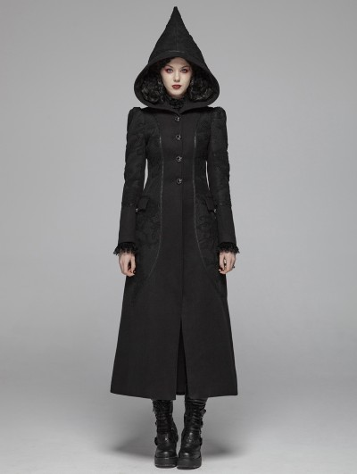 Punk Rave Black Gothic Witch Long Woolen Hooded Coat for Women