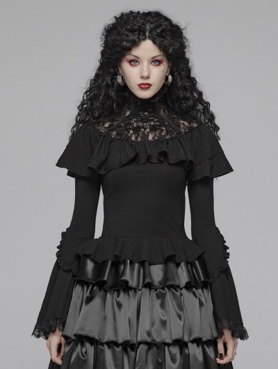 Punk Rave Black Gothic Lolita Lace Turtleneck T-Shirt for Women