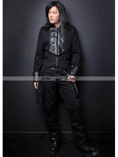 Pentagramme Black High-Low Gothic Trench Coat for Men
