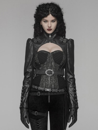 Punk Rave Black Gothic Steampunk Rivet Short Jacket for Women
