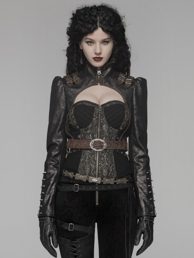 Punk Rave Coffee Gothic Steampunk Rivet Short Jacket for Women