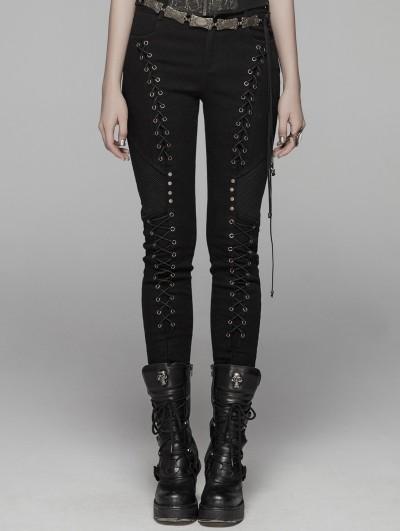 Punk Rave Black Gothic Rope Slim Pants for Women