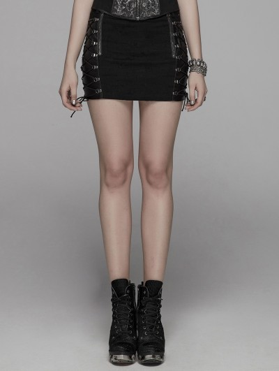 Punk Rave Black Gothic Punk Metal Mini Skirt for Women