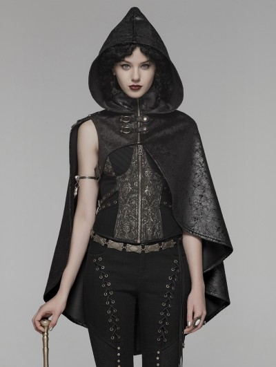 Punk Rave Black Gothic Steampunk Hooded Short Cloak for Women