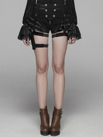 Punk Rave Black Steampunk Shorts for Women