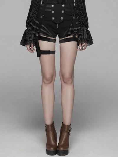 Punk Rave Black Steampunk Shorts for Women