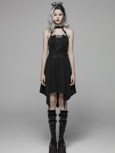 Punk Rave Black Dark Gothic Punk Halter Asymmetrical Dress