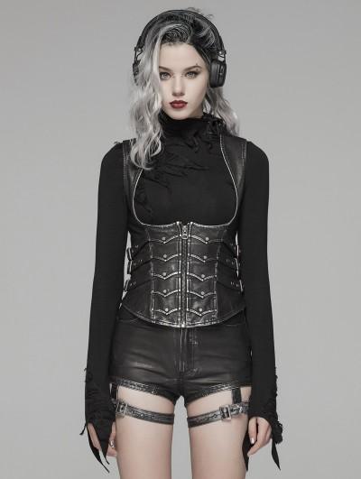 Punk Rave Black Gothic Punk Metal PU Waistcoat for Women