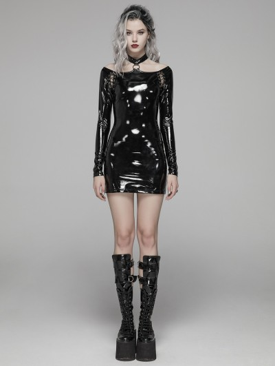 Punk Rave Black Fashion Gothic Punk Latex Nightclub Mini Dress
