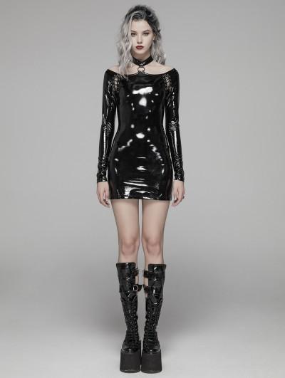 Punk Rave Black Fashion Gothic Punk Latex Nightclub Mini Dress