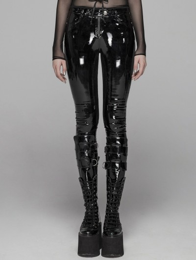 Punk Rave Black Gothic Punk Latex Slim Pants for Women