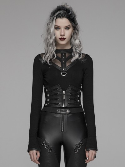 Punk Rave Black Gothic Punk Handsome Waistband for Women