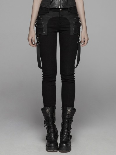 Punk Rave Black Gothic Punk Removable Belt Long Pants for Women