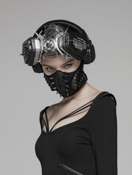Punk Rave Black Gothic Punk Dark Rivet Mask for Women