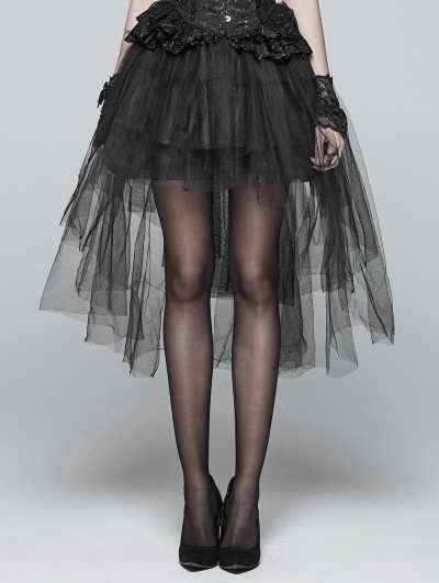 Punk Rave Black Gothic Tulle High-Low Skirt