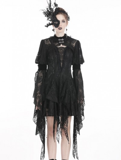 Dark in Love Black Gothic Retro Lace Long Sleeve Cape for Women