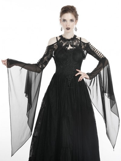 Dark in Love Black Gothic Retro Lace Off-the-Shoulder Cape for Women