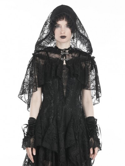 Dark in Love Black Gothic Gorgeous Lace Hooded Cape Shawl for Women