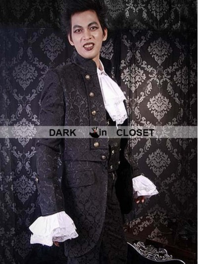Pentagramme Black Pattern Gothic Trench Coat for Men