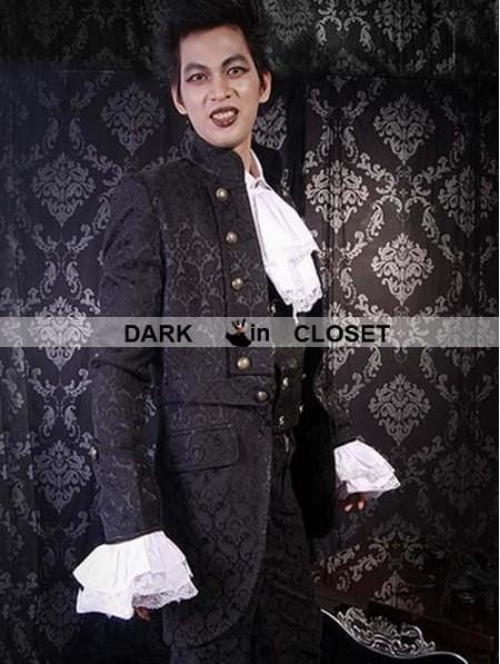 Pentagramme Black Pattern Gothic Trench Coat For Men