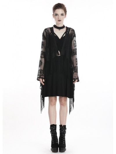 Dark in Love Black Gothic Lace Tassel Kimono Cape for Women