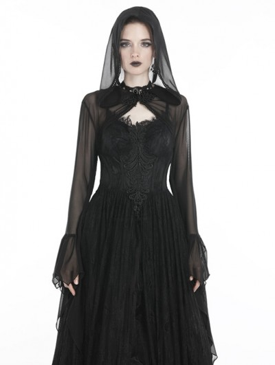 Dark in Love Black Gothic Witch Mesh Hooded Cape for Women