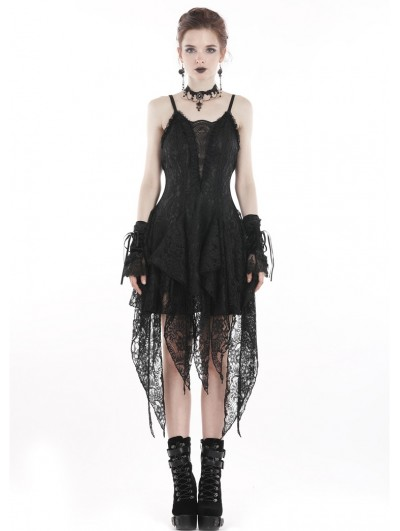 Dark in Love Black Sexy Gothic Lace Tassel Cocktail Party Dress