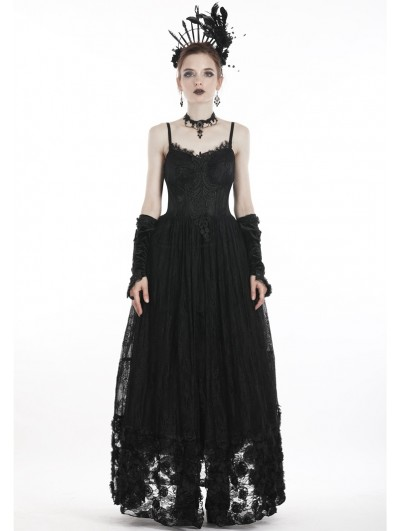 Dark in Love Black Vintage Gothic Spaghetti Strap Lace Maxi Dress