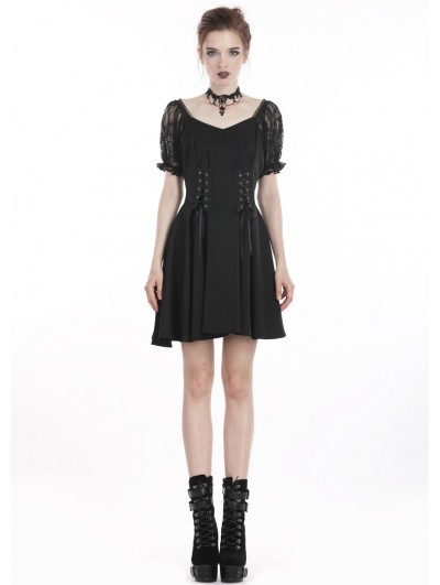 Dark in Love Black Gothic Lolita Style Chiffon Short Dress