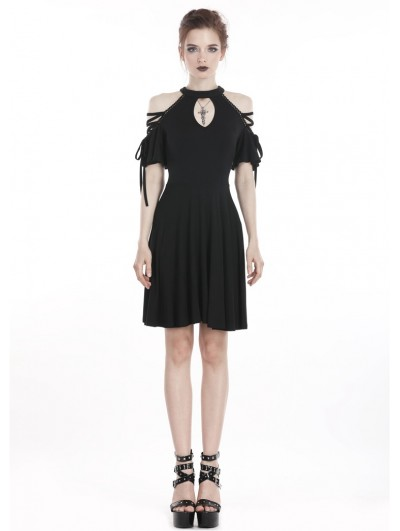 Dark in Love Black Off-the-Shoulder Gothic Summer Short Dress