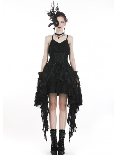 Dark in Love Black Gothic Spaghetti Strap Feather Lace Cocktail Party Dress
