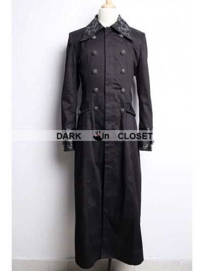 Pentagramme Black Long Gothic Trench Coat for Men