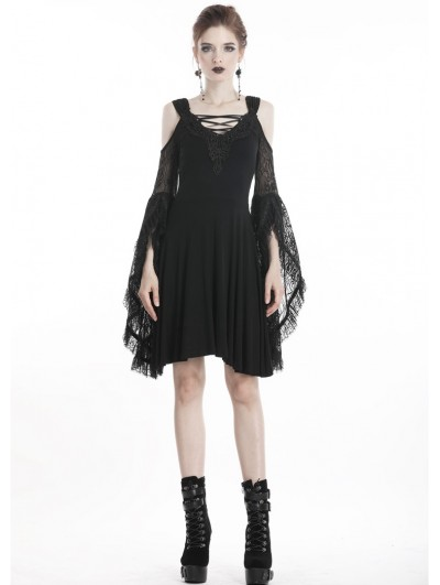 Dark in Love Black Elegant Gothic Lace Off-the-Shoulder Midi Dress