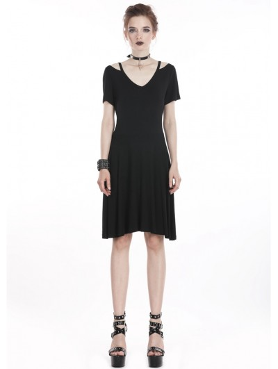 Dark in Love Black Gothic Punk Mid-Length Dress