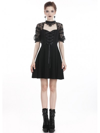 Dark in Love Black Sweet Gothic Lace Short Dress with Choker