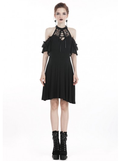 Dark in Love Black Elegant Gothic Lace Knitted Off-the-Shoulder Short Dress