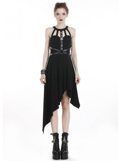 Dark in Love Black Gothic Punk Harness Style Asymmetrical Dress