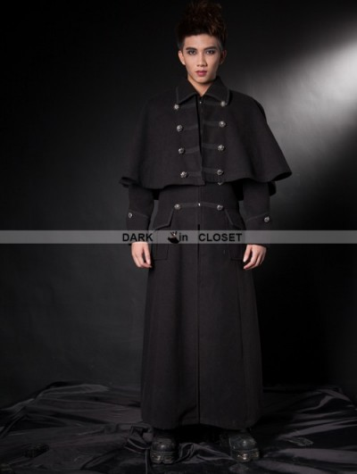 Pentagramme Black Gothic Detachable Shawl Mens Winter Cape Coat