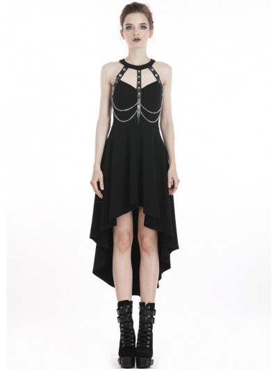 Dark in Love Black Gothic Punk Metal Chain High-Low Dress