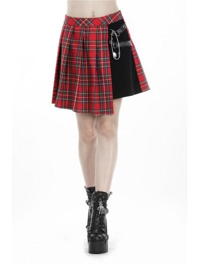 Dark in Love Red Gothic Punk Pleated Grid Irregular Hem Short Skirt