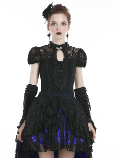 Dark in Love Black Sweet Gothic Lace Short Sleeves T-Shirt for Women
