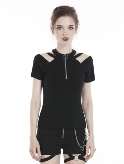 Dark in Love Black Gothic Punk Zipper Short Sleeve T-Shirt for Women